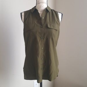 Express olive greed embroidered shirt